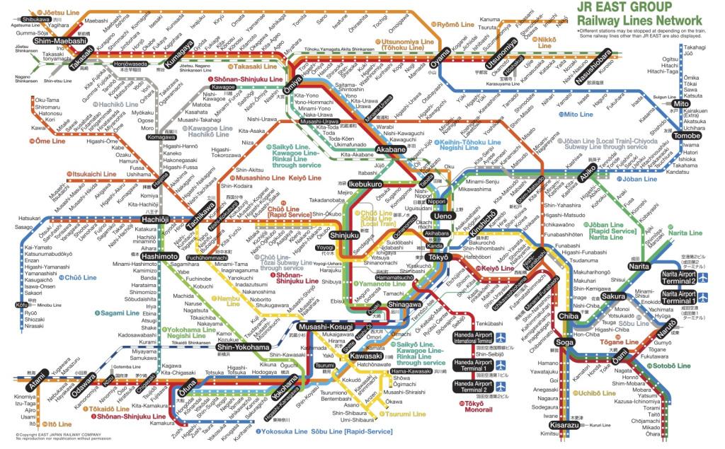 Le réseau de JR dans la région de Tokyo